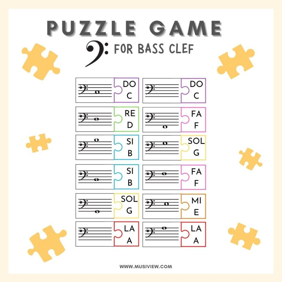 Bass clef Puzzle game MusiView